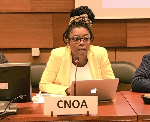 Lilian Paola Osorio Colorado de la Convergencia Nacional de Organizaciones Afrocolombiana presenta la informe alternativo sobre la situación de Derechos Humanos en Colombia para la EPU Evaluación Periódica Universal de la ONU