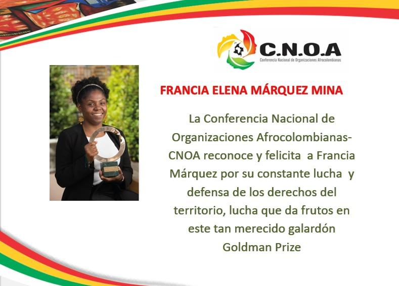 Francia Márquez, afrocolombiana que recibió el premio nobel de Medio Ambiental.